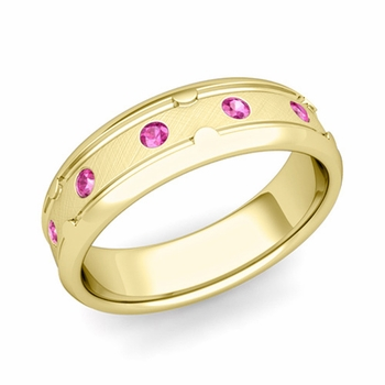 Unique Pink Sapphire Anniversary Ring in 18k Gold Brushed Wedding Band, 6mm
