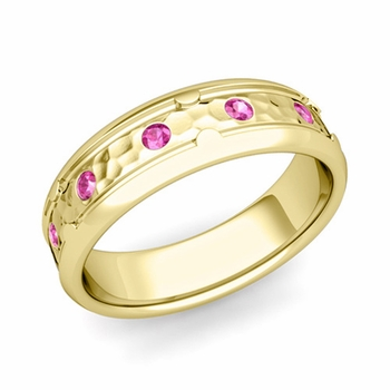 Unique Pink Sapphire Anniversary Ring in 18k Gold Hammered Wedding Band, 6mm