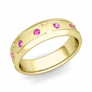 Unique Pink Sapphire Anniversary Ring in 18k Gold Satin Wedding Band, 6mm