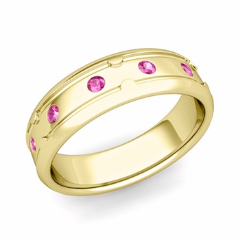 Unique Pink Sapphire Anniversary Ring in 18k Gold Shiny Wedding Band, 6mm