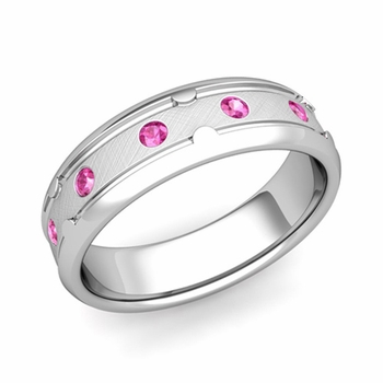 Unique Pink Sapphire Anniversary Ring in Platinum Brushed Wedding Band, 6mm