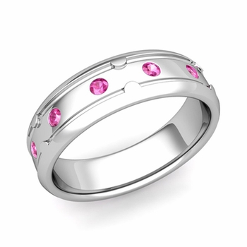 Unique Pink Sapphire Anniversary Ring in Platinum Shiny Wedding Band, 6mm