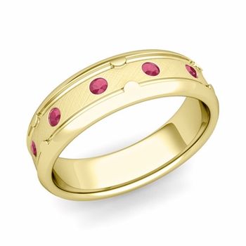 Unique Ruby Anniversary Ring in 18k Gold Brushed Wedding Band, 6mm