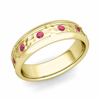 Unique Ruby Anniversary Ring in 18k Gold Hammered Wedding Band, 6mm