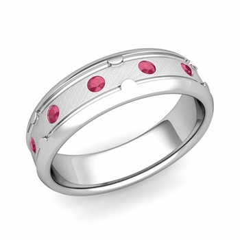 Unique Ruby Anniversary Ring in Platinum Brushed Wedding Band, 6mm