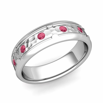 Unique Ruby Anniversary Ring in Platinum Hammered Wedding Band, 6mm