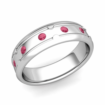 Unique Ruby Anniversary Ring in Platinum Shiny Wedding Band, 6mm