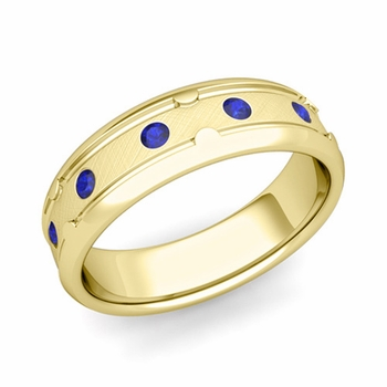 Unique Sapphire Anniversary Ring in 18k Gold Brushed Wedding Band, 6mm