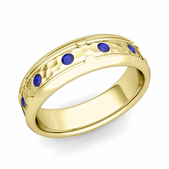 Unique Sapphire Anniversary Ring in 18k Gold Hammered Wedding Band, 6mm