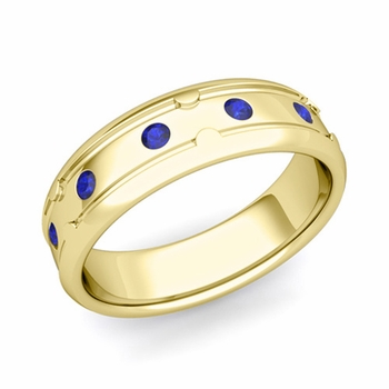 Unique Sapphire Anniversary Ring in 18k Gold Shiny Wedding Band, 6mm