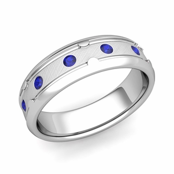 Unique Sapphire Anniversary Ring in Platinum Brushed Wedding Band, 6mm