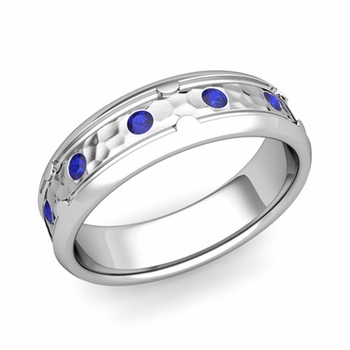 Unique Sapphire Anniversary Ring in Platinum Hammered Wedding Band, 6mm