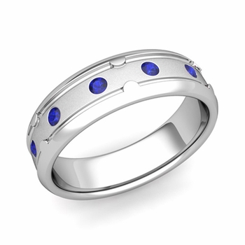 Unique Sapphire Anniversary Ring in Platinum Satin Wedding Band, 6mm