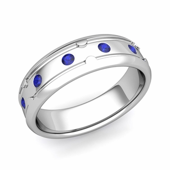 Unique Sapphire Anniversary Ring in Platinum Shiny Wedding Band, 6mm
