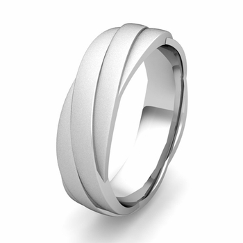 Customized Past Present Future Wedding Band Ring in Gold or Platinum