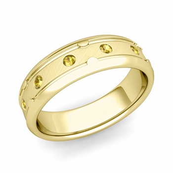 Unique Yellow Sapphire Anniversary Ring in 18k Gold Brushed Wedding Band, 6mm