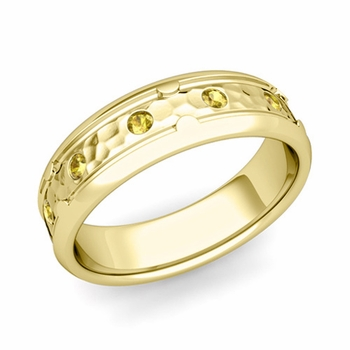 Unique Yellow Sapphire Anniversary Ring in 18k Gold Hammered Wedding Band, 6mm