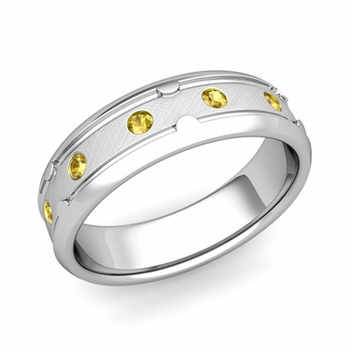 Unique Yellow Sapphire Anniversary Ring in Platinum Brushed Wedding Band, 6mm