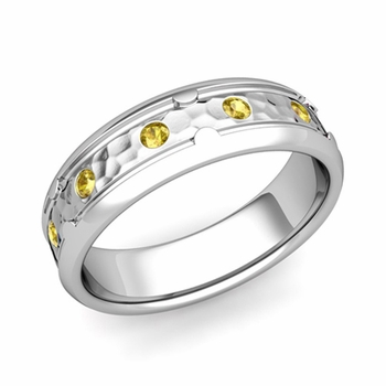 Unique Yellow Sapphire Anniversary Ring in Platinum Hammered Wedding Band, 6mm