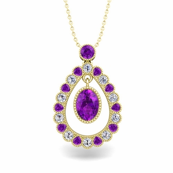 Vintage Inspired Diamond and Amethyst Necklace in 18k Gold 8x6mm