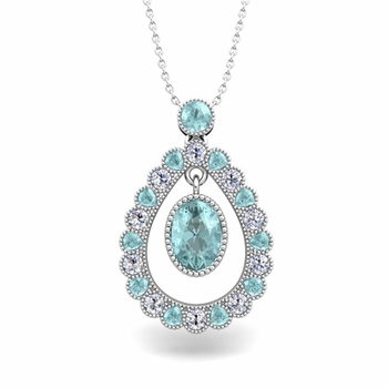 Vintage Inspired Diamond and Aquamarine Necklace in 14k Gold 8x6mm
