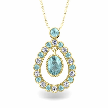 Vintage Inspired Diamond and Aquamarine Necklace in 18k Gold 8x6mm