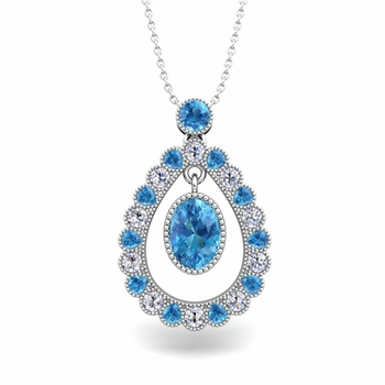 Vintage Inspired Diamond and Blue Topaz Necklace in 14k Gold 8x6mm