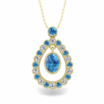 Vintage Inspired Diamond and Blue Topaz Necklace in 18k Gold 8x6mm