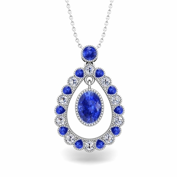 Vintage Inspired Diamond and Ceylon Sapphire Necklace in 14k Gold 8x6mm