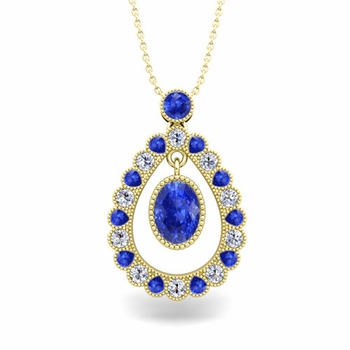 Vintage Inspired Diamond and Ceylon Sapphire Necklace in 18k Gold 8x6mm