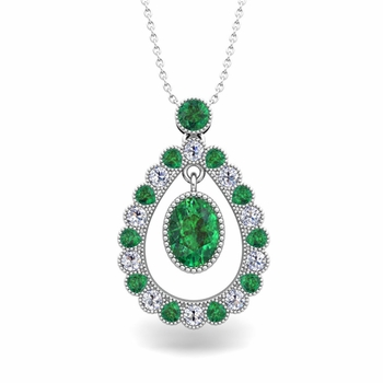 Vintage Inspired Diamond and Emerald Necklace in 14k Gold 8x6mm