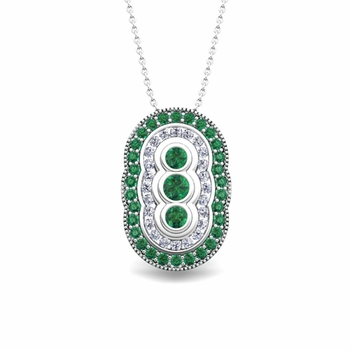 Vintage Inspired Diamond and Emerald Necklace in 14k Gold Pendant