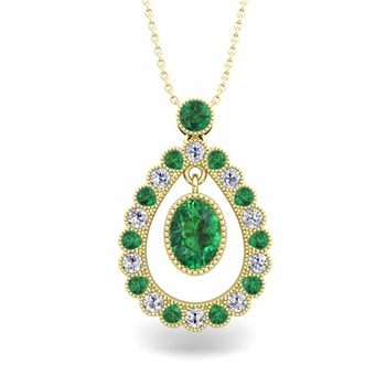 Vintage Inspired Diamond and Emerald Necklace in 18k Gold 8x6mm