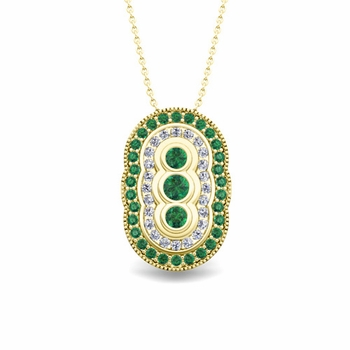 Vintage Inspired Diamond and Emerald Necklace in 18k Gold Pendant