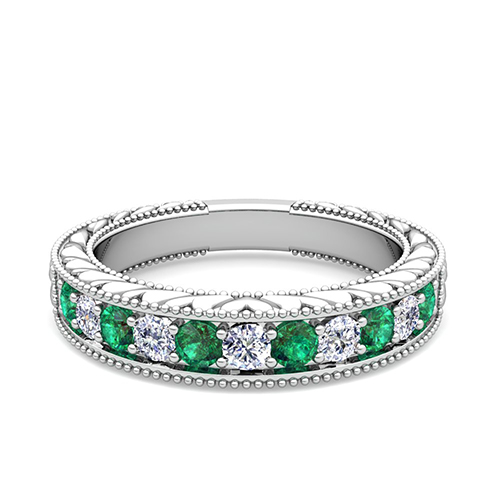 Vintage diamond and emerald wedding ring band in platinum for Emerald and diamond wedding ring