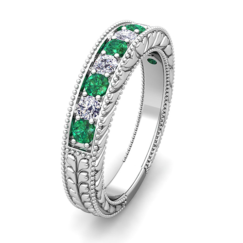vintage diamond and emerald wedding ring band in platinum