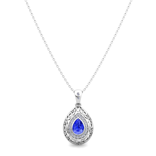 Completely new Vintage Inspired Diamond and Pear Ceylon Sapphire Necklace in 14k Gold OR48