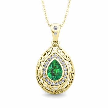 Vintage Inspired Diamond and Pear Emerald Necklace in 18k Gold