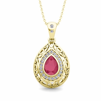Vintage Inspired Diamond and Pear Ruby Necklace in 18k Gold