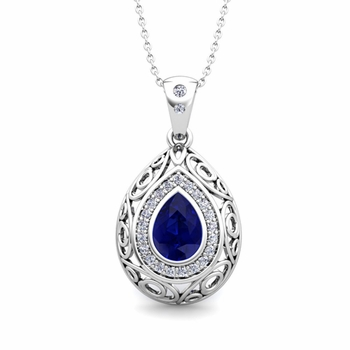 Vintage Inspired Diamond and Pear Sapphire Necklace in 14k Gold