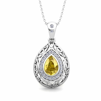 Vintage Inspired Diamond and Pear Yellow Sapphire Necklace in 14k Gold