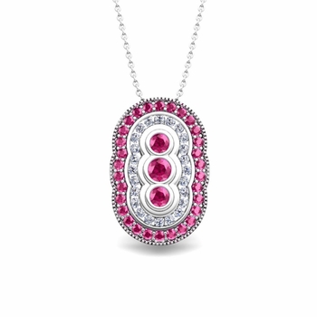 Vintage Inspired Diamond and Pink Sapphire Necklace in 14k Gold Pendant