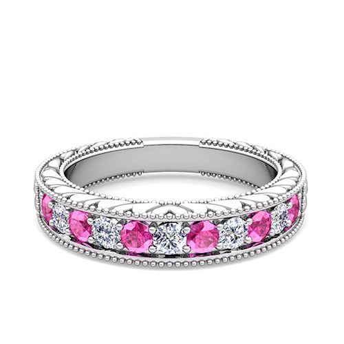 Order Now Ships On Thursday 10 4order In 14 Business Days Vintage Inspired Diamond And Pink Shire Wedding Ring Band