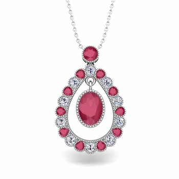 Vintage Inspired Diamond and Ruby Necklace in 14k Gold 8x6mm