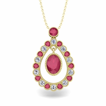 Vintage Inspired Diamond and Ruby Necklace in 18k Gold 8x6mm