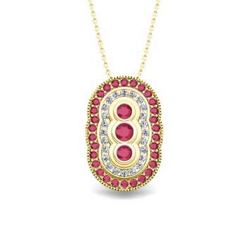 Vintage Inspired Diamond and Ruby Necklace in 18k Gold Pendant