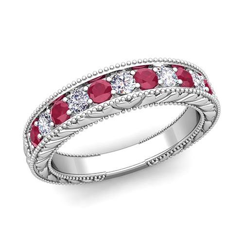 vintage diamond and ruby wedding ring band in 18k gold With wedding rings with rubies and diamonds