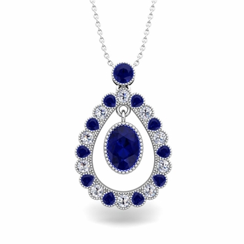 Vintage Inspired Diamond and Sapphire Necklace in 14k Gold 8x6mm
