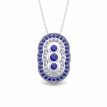 Vintage Inspired Diamond and Sapphire Necklace in 14k Gold Pendant