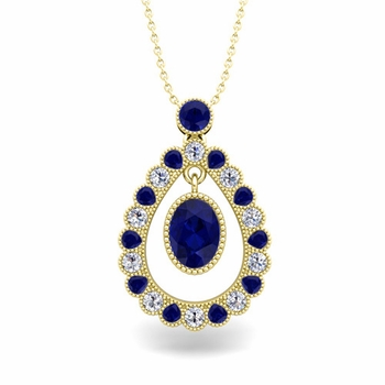 Vintage Inspired Diamond and Sapphire Necklace in 18k Gold 8x6mm